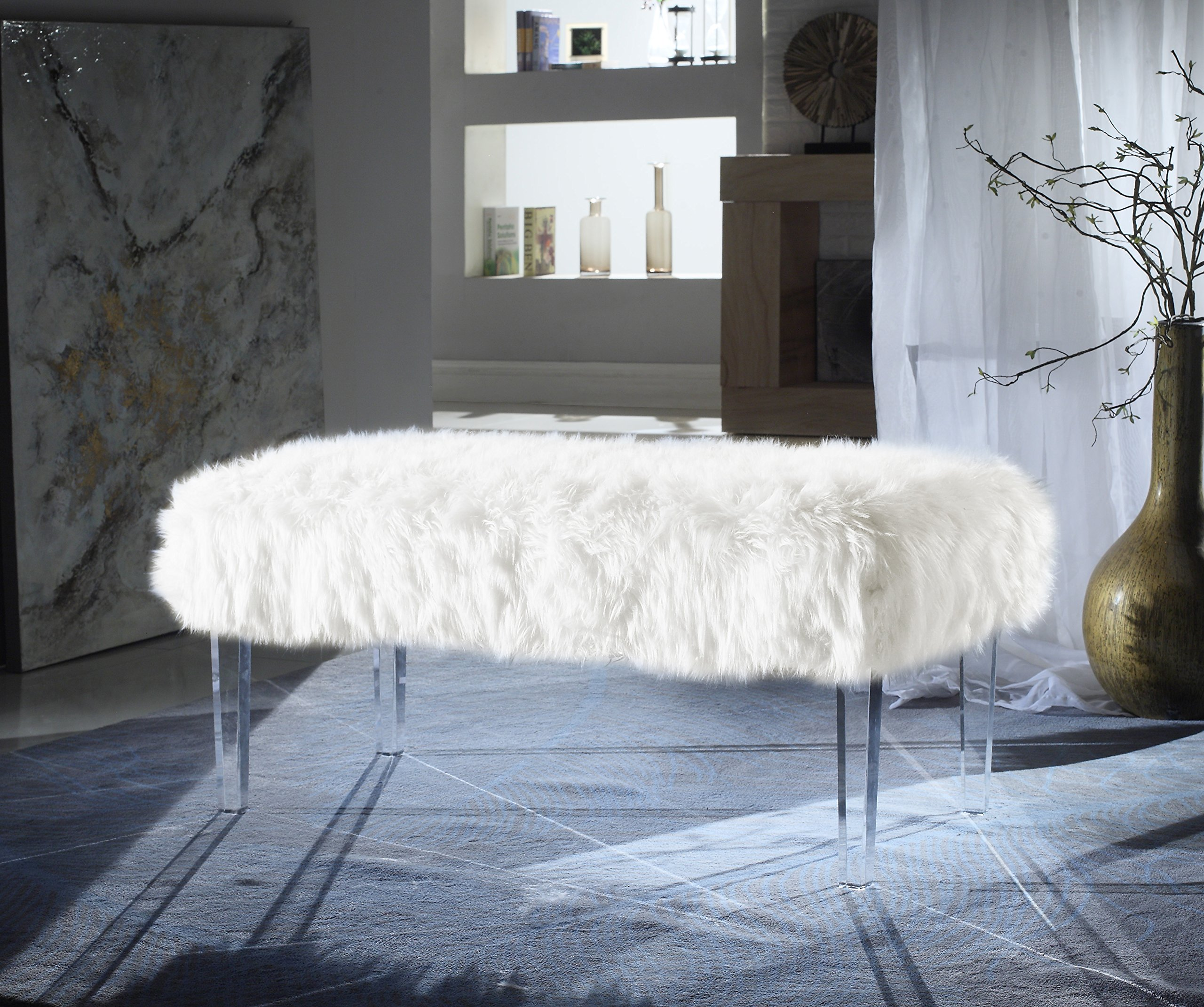 Iconic Home Trento Modern Contemporary Faux Fur Acrylic Leg Bench, White by Iconic Home