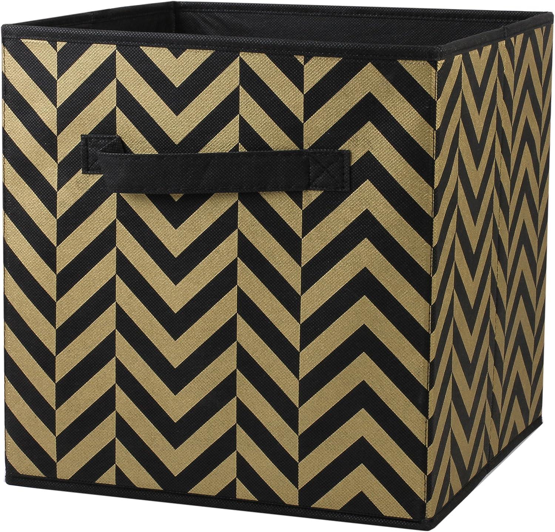 Home Basics Foldable Metallic Storage Bin Cube Organizer (Gold Chevron)