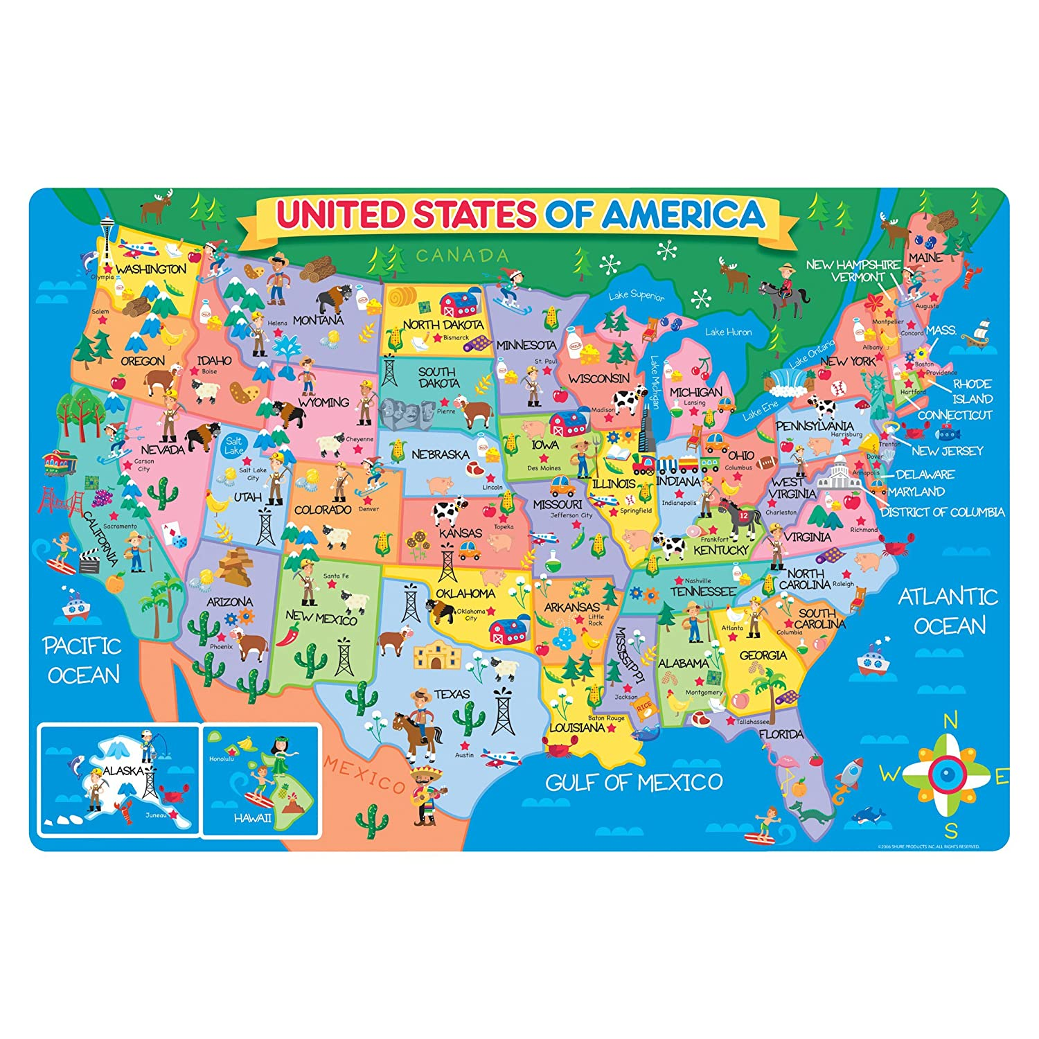 Kids Map Of The Us Globalinterco - Us puzzle map owl mouse