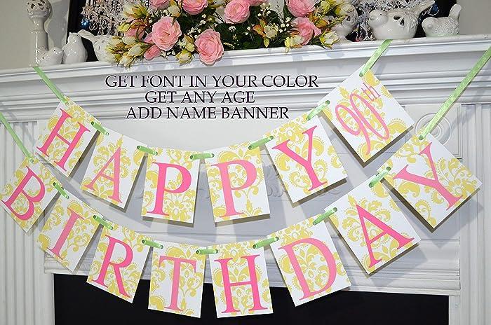 Amazon 90th Birthday Happy Banner Floral Yellow Pink Gold Decorations 100th Custom Handmade
