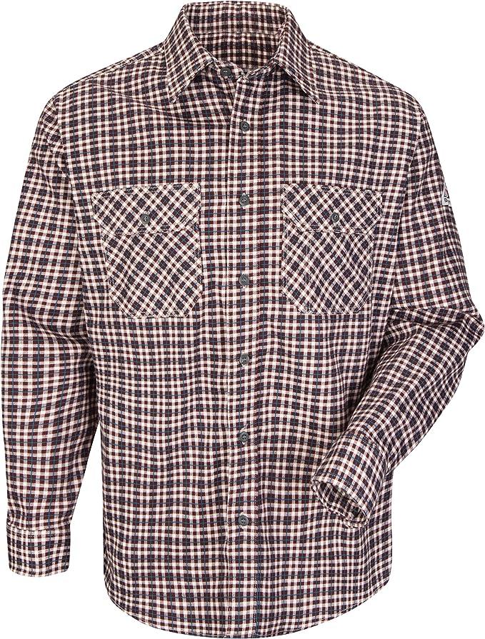 Wrangler Mens Flame Resistant Long Sleeve Plaid Work Shirt Burgundy Large