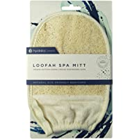 Hydrea London Organic Egyptian Loofah Pad Glove with Elasticated Cuff backed in Soft Egyptian Cotton, 24 Grams