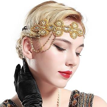 Amazon.com   BABEYOND 1920s Flapper Headband Crystal Great Gatsby Headpiece  Roaring 20s Flapper Gatsby Hair Accessories (Gold)   Beauty be4c4485cb6