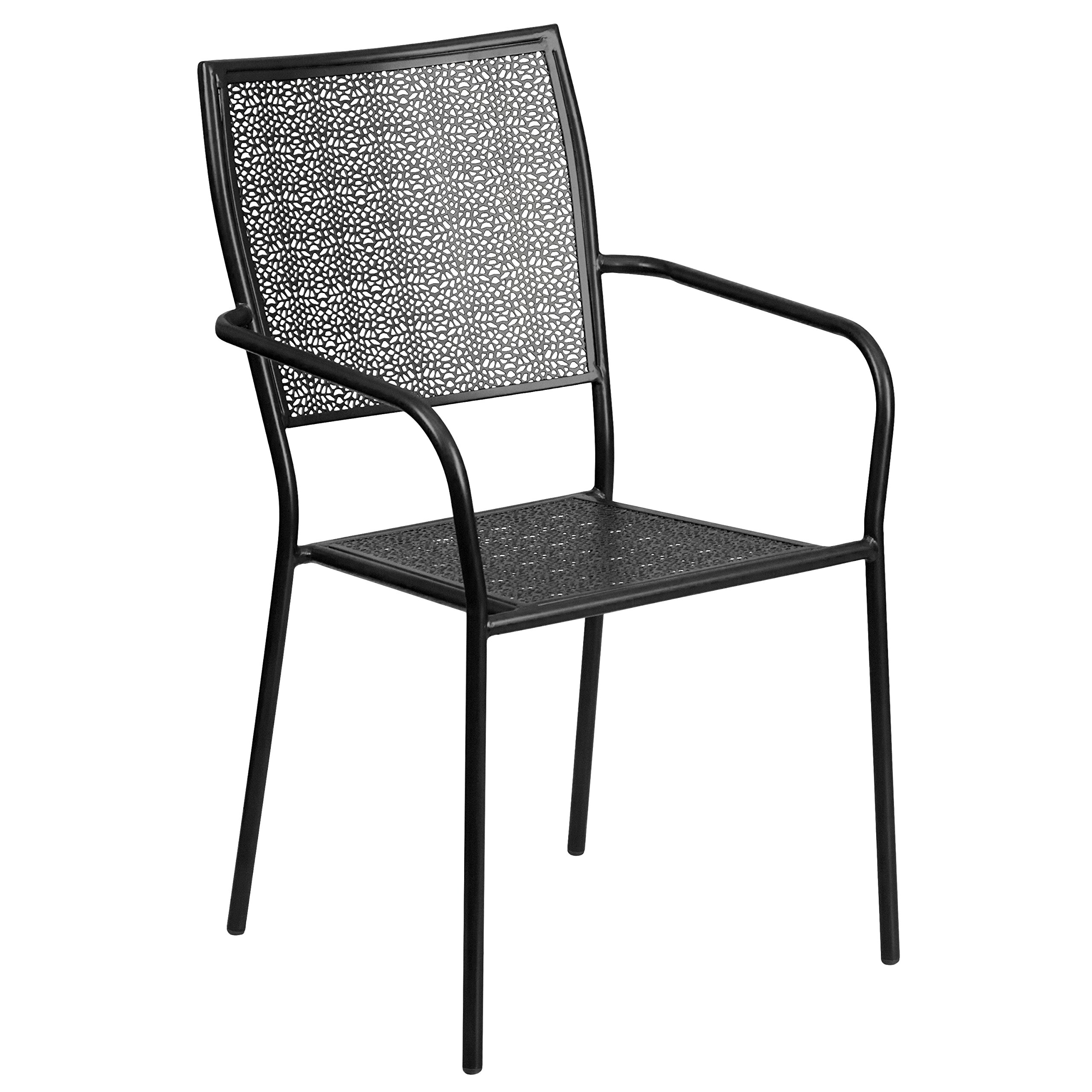 MFO Black Indoor-Outdoor Steel Patio Arm Chair with Square Back