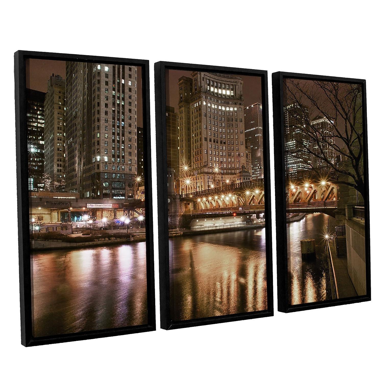 36 by 54-Inch ArtWall Dan Wilsons Chicago-Michigan Abenue Bridge 3-Piece Floater Framed Canvas Artwork