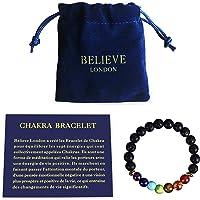 Believe London Bracelet Chakra avec Sac à Bijoux et Carte des Significations   Bracelet Ajustable pour S'Adapter à Tous Les Poignets   Pierres Naturelles des 7 Chakras   Guérisseur Yoga Reiki