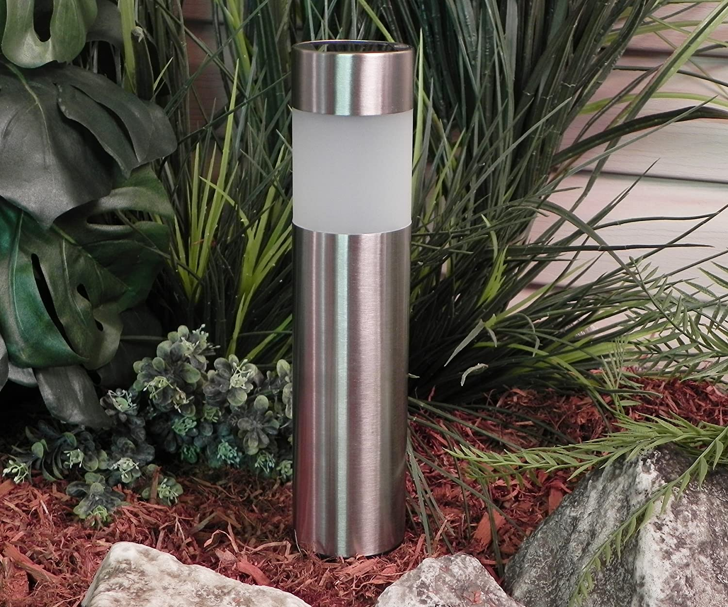 Attractive Solar Bollard Lighting Part - 10: Amazon.com: Paradise GL23158SS4 Stainless Steel Solar Bollard Light With  White LED, 4-Pack, Stainless Steel: Home Improvement