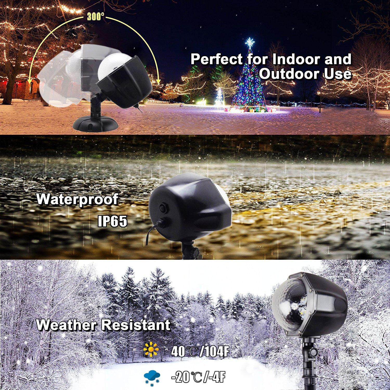 Weihnachtsbeleuchtung Aussen Led Projektionslampe JEENSO Mit Fernbedienung Schneefall Licht Wei/ße Schneeflocke Sie K/önnen den Modus /ändern Wasserdicht Landschaft Projektor Lampe