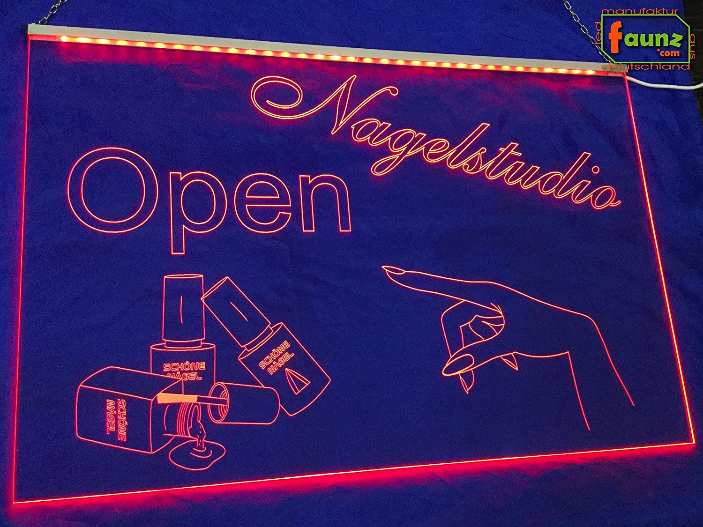 LED Cartel uñas Studio Open abierto/abierto rojo opaco sobre ...