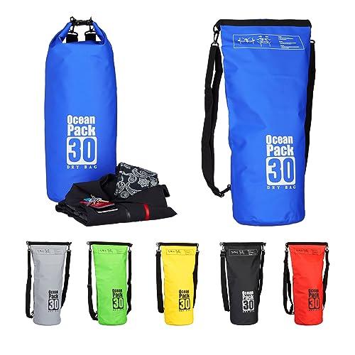 Relaxdays Ocean Pack 30 L, wasserabweisender Dry Bag für Wertsachen, leichter Trockensack für Outdoor Sport, blau