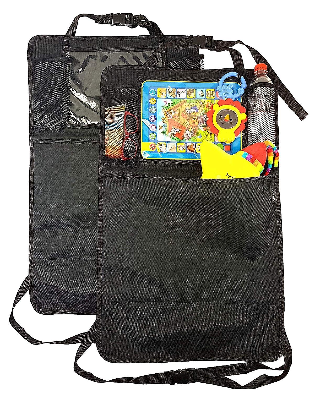 Rückenlehnenschutz für Auto Kinder (2 Stück) von ZAROSO mit großer Tasche und Tablet-/iPad-Fach, Auto-Rücksitz-Organizer für Kinder, Autositz-Schoner wasserdicht, Kick-Matten-Schutz | universelle Passform