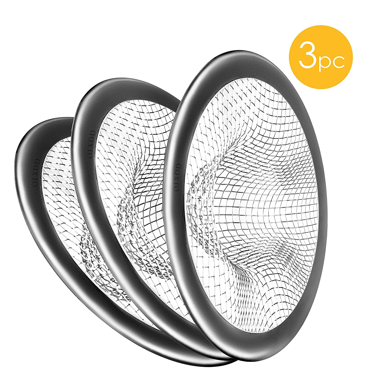 """Hair Catcher Drain Cover, Sink Strainer, Small Drain Protector 3"""", Kitchen Drain Catcher, Shower Sink Drain Cover Mesh (Pack of 3)"""