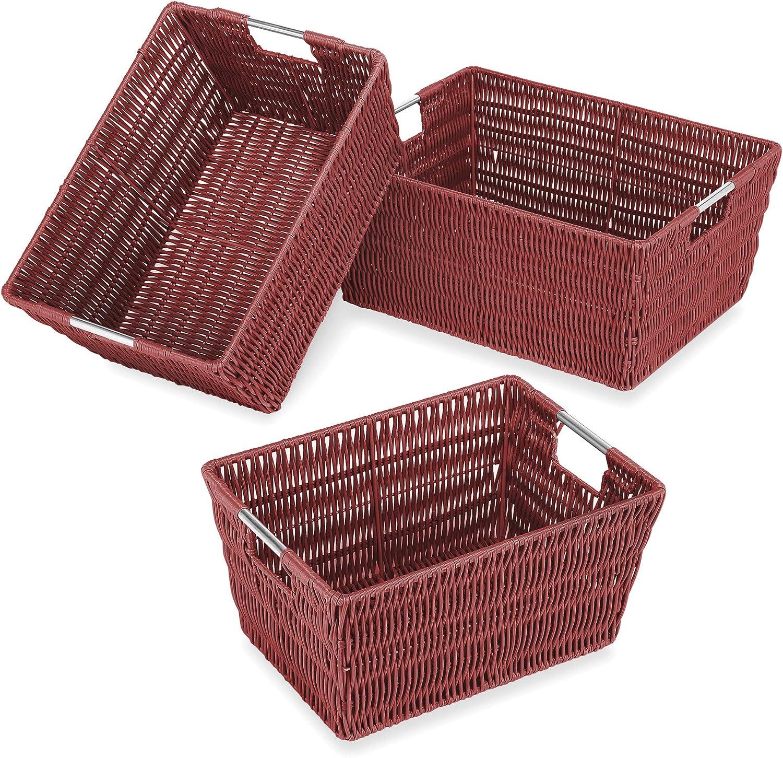 Whitmor Rattique Storage Baskets - Red (3 Piece Set)