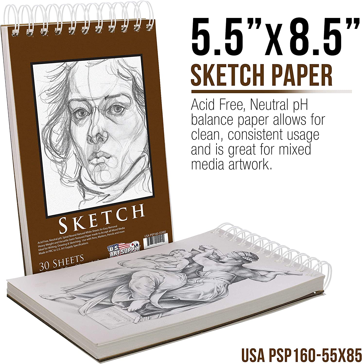 US Art Supply 20 Piece Artist Drawing, Sketch and Painting - Paper and Brush Accessory Pack