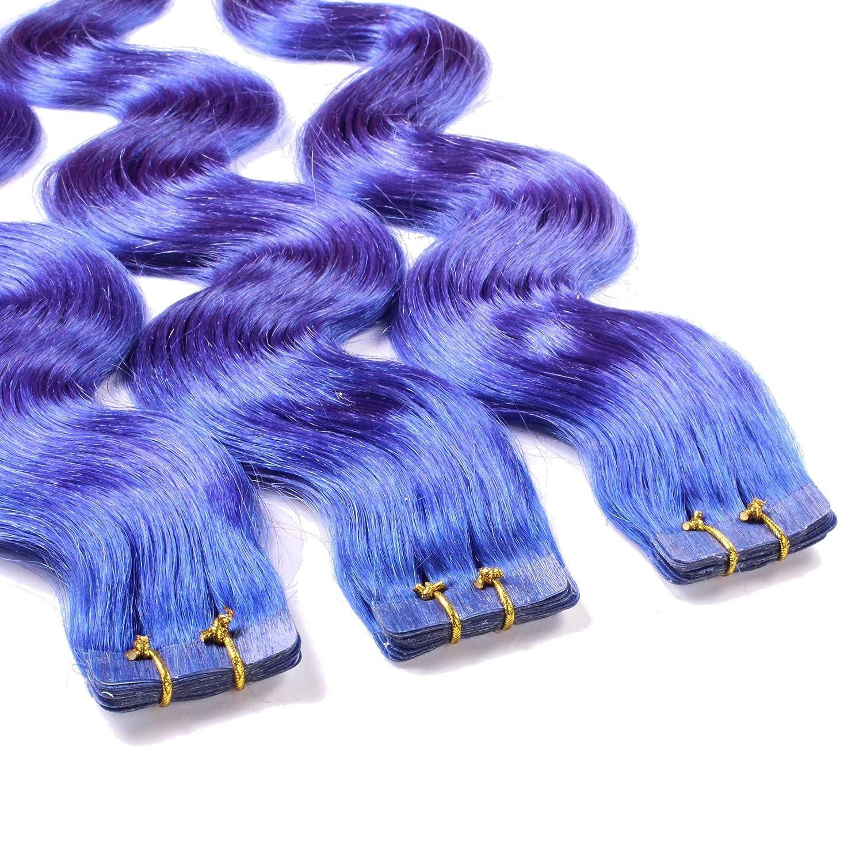 30 x 2.5g Tape In Extensions, 50cm - gewellt - #20 Aschblond - Haarverlängerung, Extensions zum Einkleben hair2heart 4260379944886