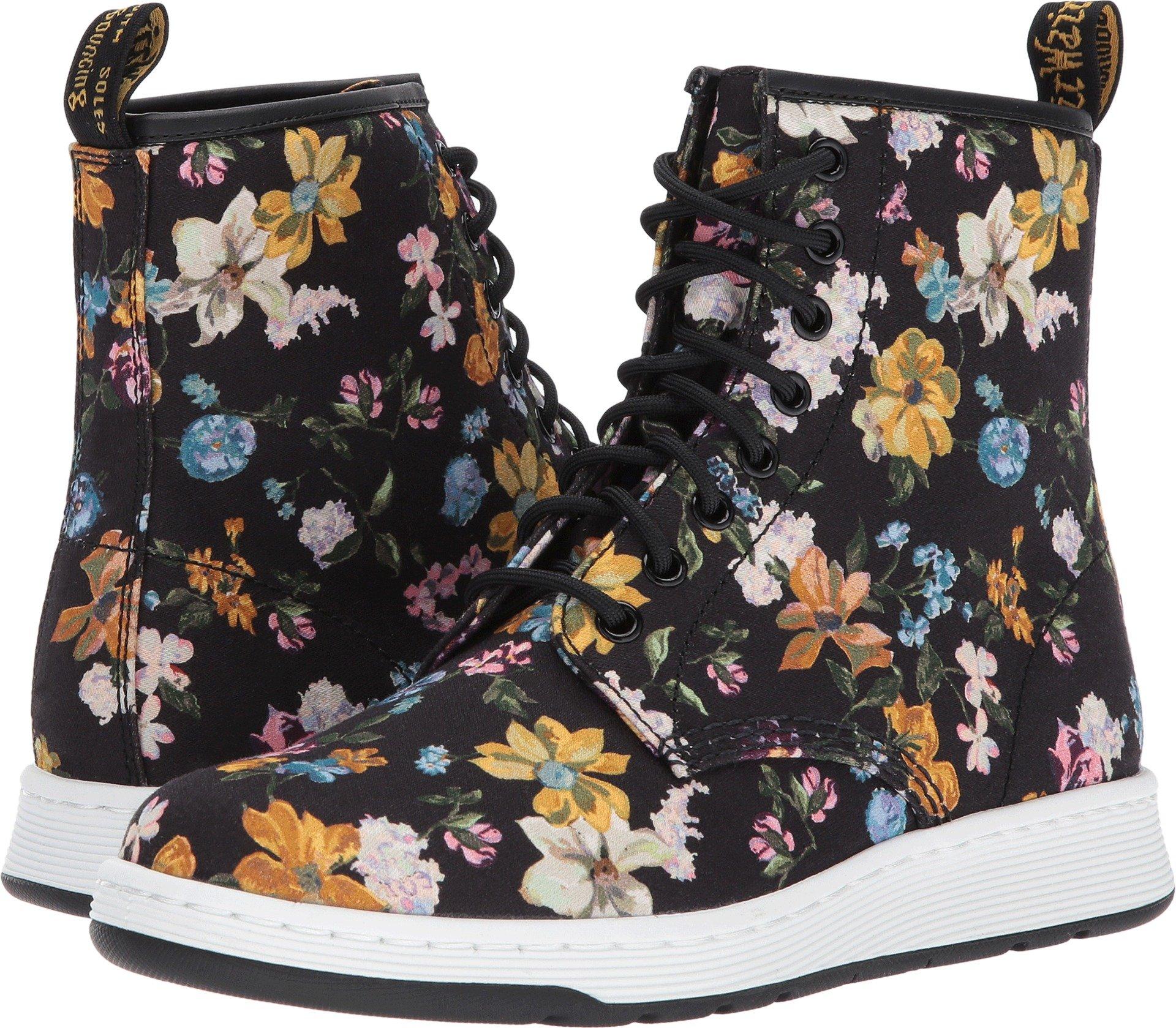 Dr. Martens Women's Newton DF Fashion Boot, Black Darcy Floral Fine Canvas, 6 Medium UK (8 US)