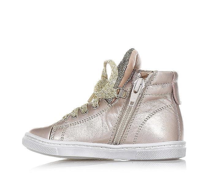 PANDA - Sneaker à lacets dorée en cuir, made in Italy, avec fermeture éclaire latéral, Fille, Filles-25