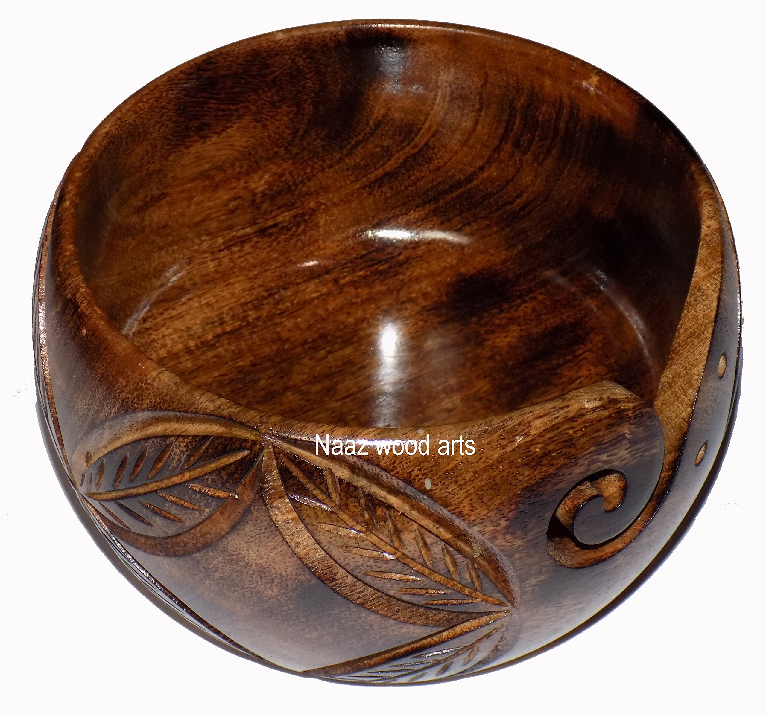 Naaz Wood Arts Yarn Bowl-7''x4'' Mango Wood -Wooden with Handmade from Sheesham Wood- Heavy & Sturdy to Prevent Slipping. Perfect Yarn Holder for Knitting & Crocheting Burn antiqe with Hand Carved