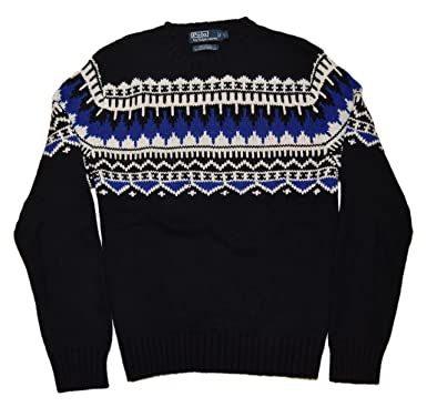 RALPH LAUREN Polo Mens Indian Cashmere Angora Crewneck Sweater Black Blue  White (Large)