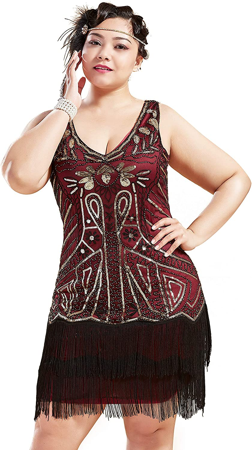 1920s Plus Size Flapper Dresses, Gatsby Dresses, Flapper Costumes BABEYOND Womens Plus Size Flapper Dresses 1920s V Neck Beaded Fringed Great Gatsby Dress $43.99 AT vintagedancer.com