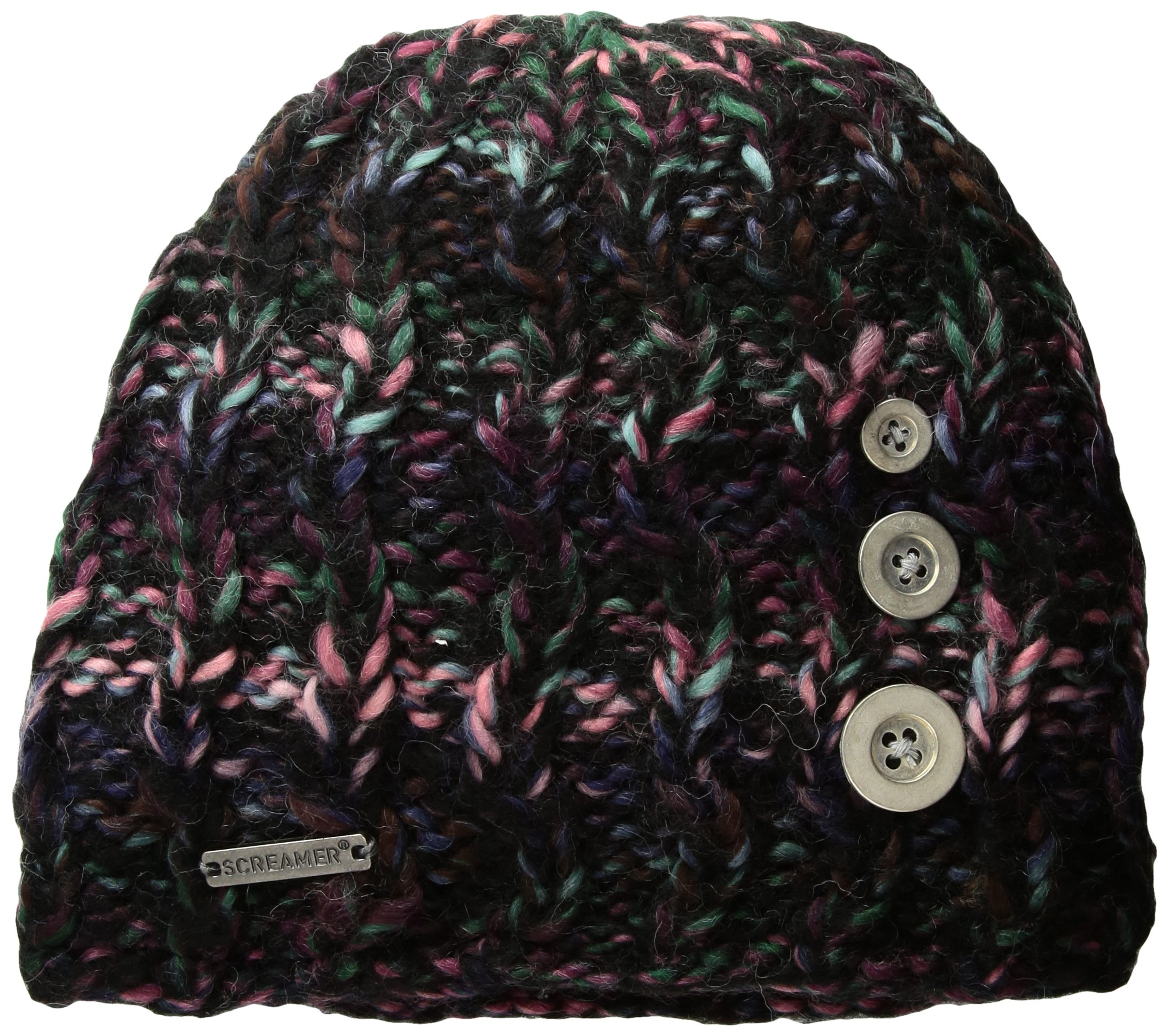 Screamer Tapestry Buttons Beanie, Black/Dusty Rose/Aqua, One Size