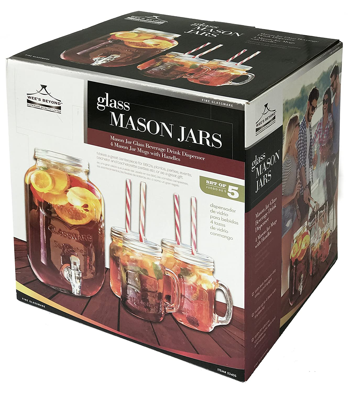 Amazon.com | Wees Beyond 5340S Mason Jar Beverage Dispenser Set, Clear: Iced Beverage Dispensers