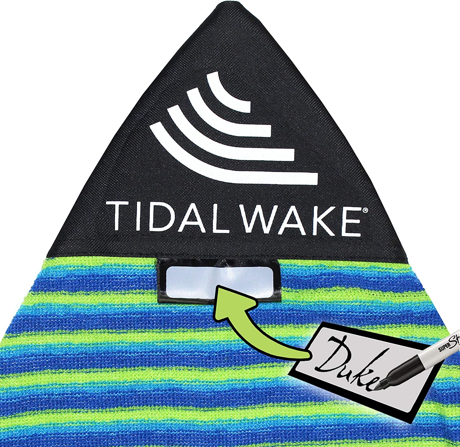 "Tidal Wake TAG-IT Pointed Nose Surf & Wake Board Sock Bag with Built-in Name Tag, Personalize - Small 52-53"", Tag Your Bag (Green & Blue Striped)"