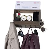 Wallniture Entryway Décor Mail Holder Shelf Coat Rack with 8 Hooks Wood Walnut 12 Inches Long (Color: Walnut)