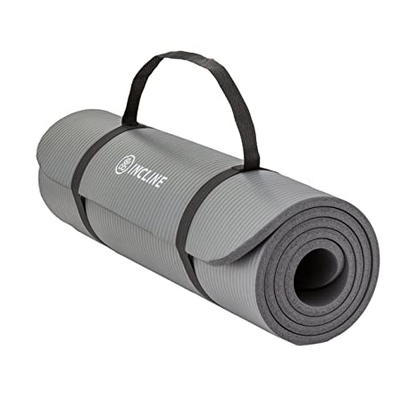 Incline Fit Extra Thick Exercise Mat w/Carrying Strap - Non Slip & Comfortable Workout Mat for Yoga, Pilates, Stretching, Meditation, Floor & Fitness ...