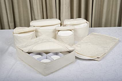 Superior Marathon Housewares KW030008 Quilted Damask China Storage Case, Set Of 6,  Ivory