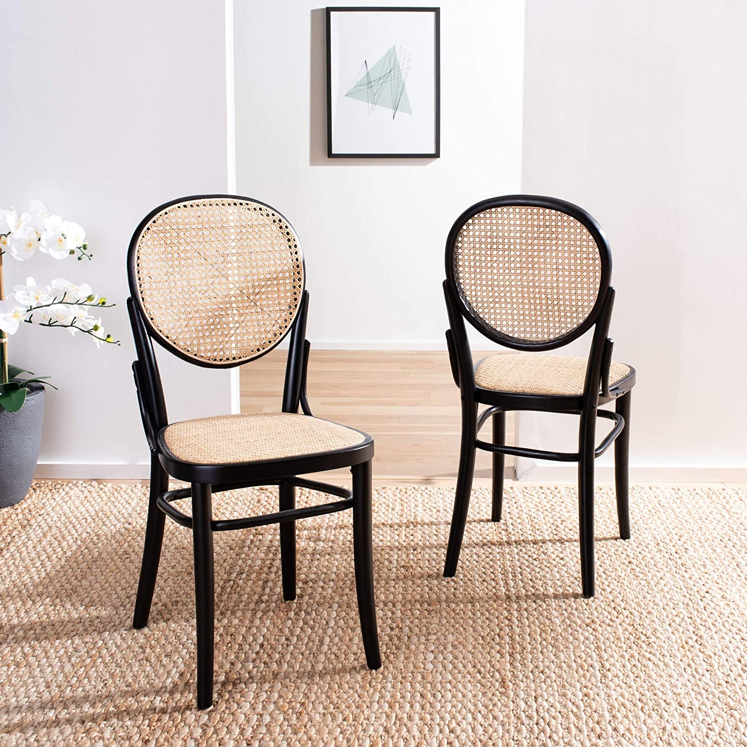 Safavieh Home Sonia Black and Natural Cane (Set of 2) Dining Chair,