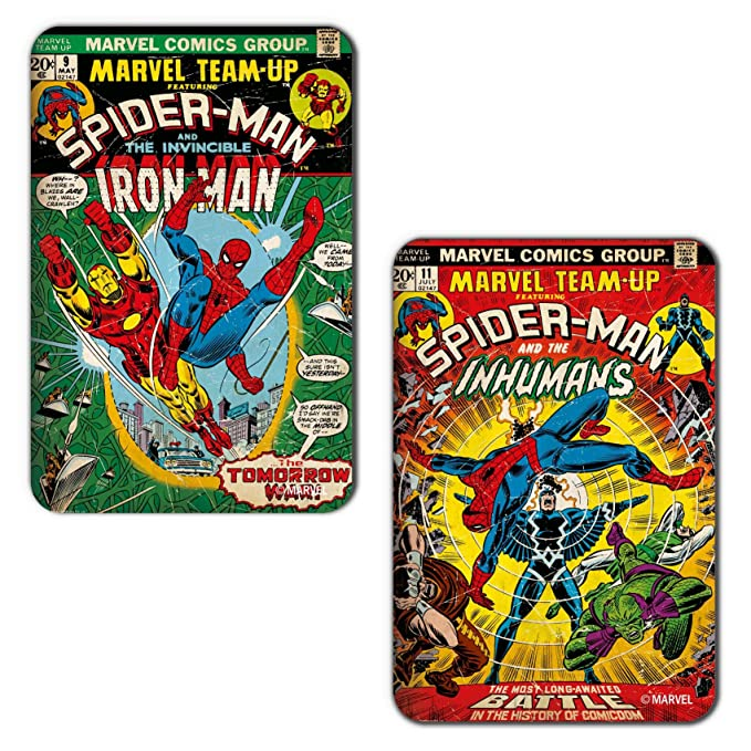 Marvel 'Spiderman   Iron Man' Rectangular MDF Fridge Magnet  7.5 cm x 10 cm, Set of 2, PBMARCMFRMA224  Magnets