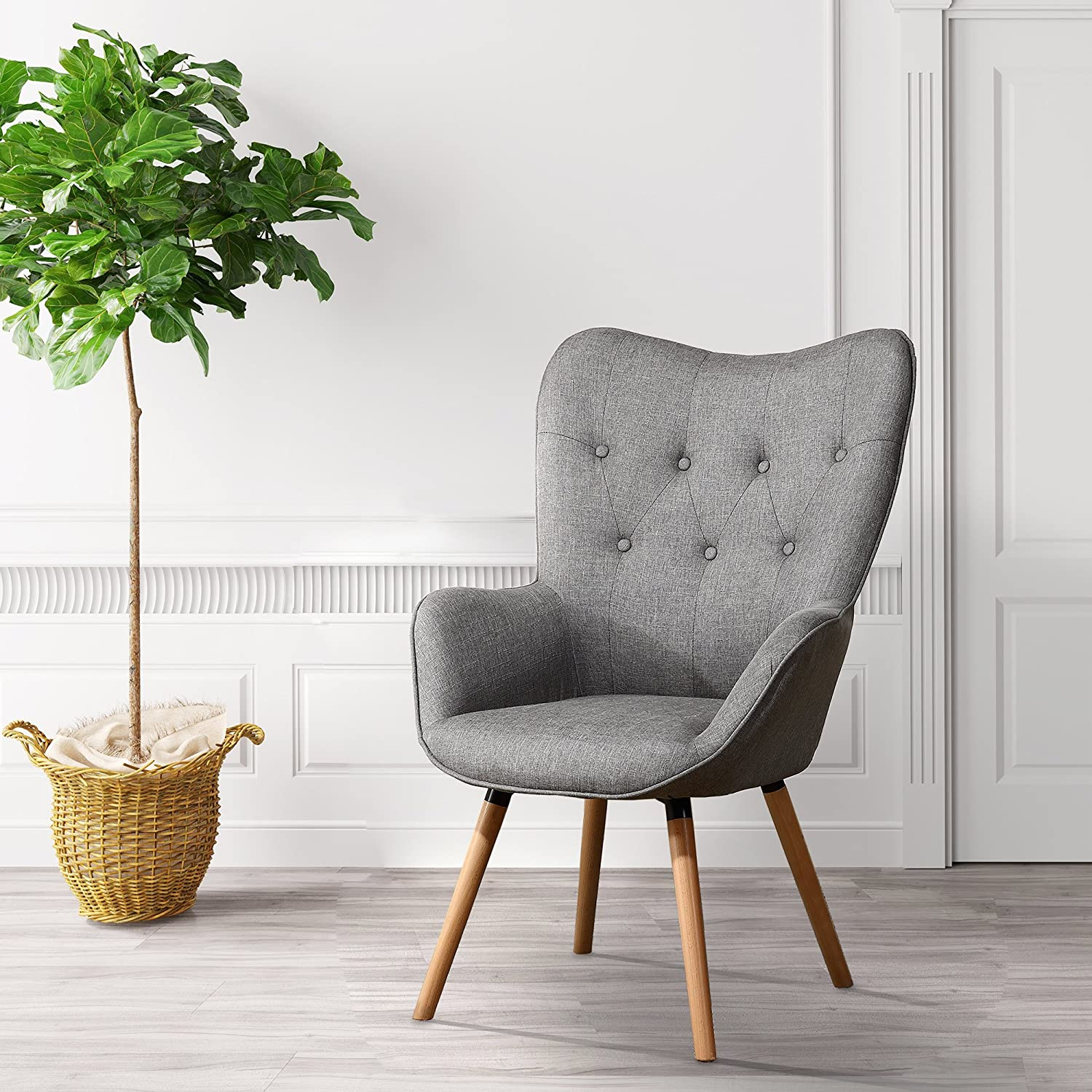 Tremendous Lssbought Stylish Fabric Accent Chair Modern Muted Fabric Arm Chair Gray Andrewgaddart Wooden Chair Designs For Living Room Andrewgaddartcom