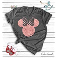 92e6620b0af6 Disney Shirts, Minnie Mouse Ear T-Shirt, Glitter Rose Gold Disneyland  Birthday Outfits