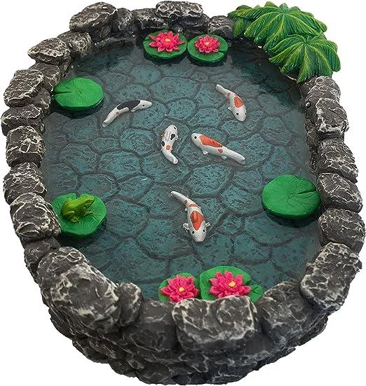 GlitZGlam Estanque KOI en Miniatura – Estanque KOI para Jardín de Hadas. Estanque en Miniatura para Jardín de Hadas en Miniatura, Accesorios y Complementos para Jardín Encantado: Amazon.es: Jardín
