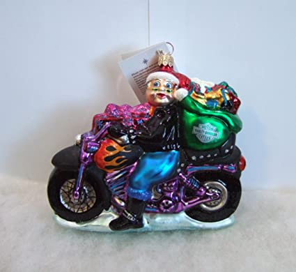 christopher radko christmas ornaments special delivery mrs santa claus rides harley davidson motorcycle 1999