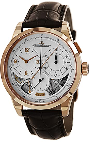 Jaeger LeCoultre Duometre Plata Dial 18 kt Rose Oro Brown Cuero Mens Reloj q6012521: Jaeger LeCoultre: Amazon.es: Relojes
