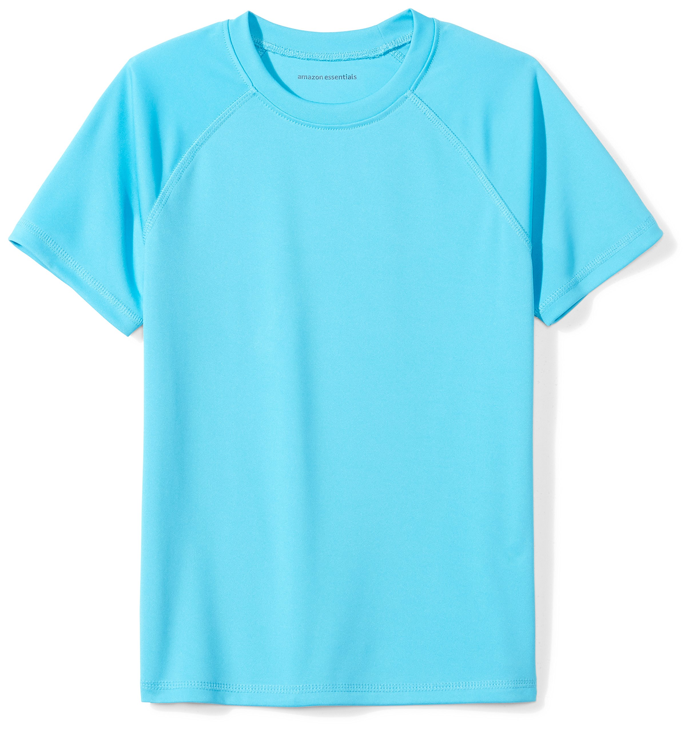 Amazon Essentials Boys' Swim Tee, Aqua, L (10)