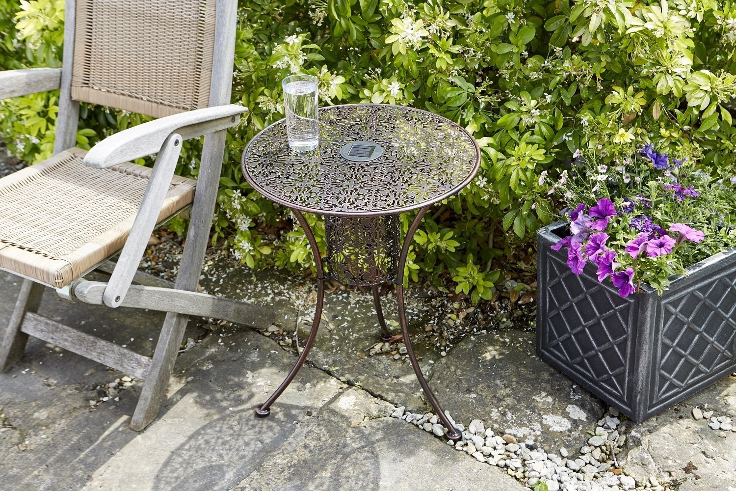 Homezone Garden Mile® Illumina Round Silhouette Patio Bistro Table With LED Lights Decorative Garden Bistro Table Coffee Side Snack Table Garden Furniture Brushed Metal Filigree Finish 45cm Diameter