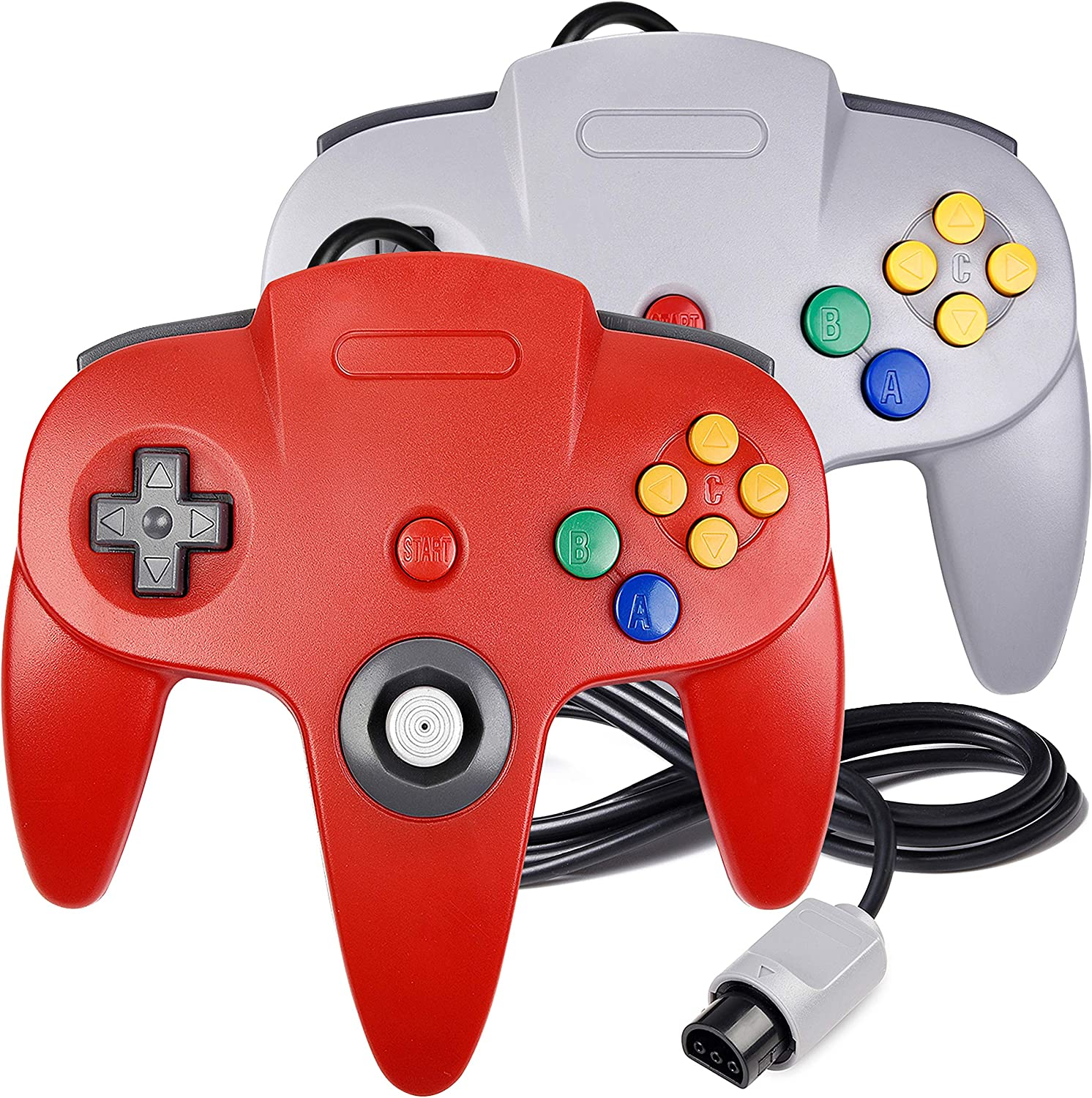 2 Pack N64 Controller, iNNEXT Classic Wired N64 64-bit Gamepad Joystick for Ultra 64 Video Game Console (Red/Grey)