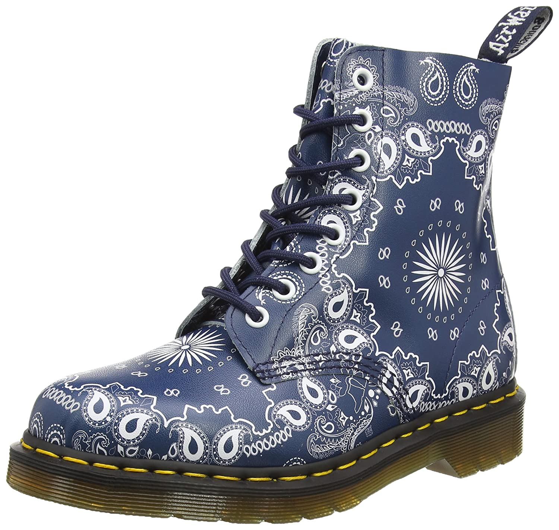 Dr. Martens Women's Pascal Leather Combat Boot B01ICDOQEW 11 M UK / 12 D(M) US|Navy, White