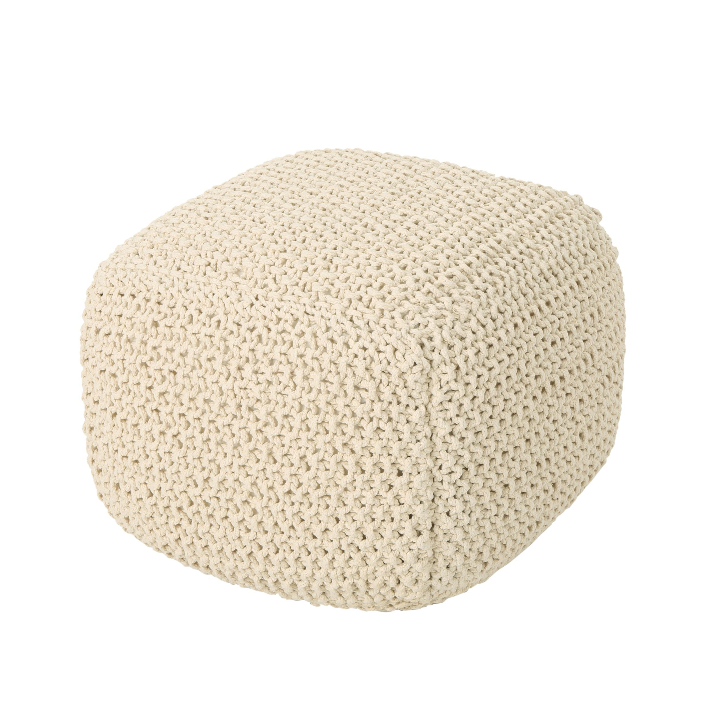 Knox Knitted Cotton Pouf, Beige