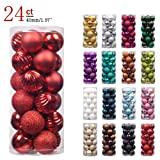 """Amazon Price History for:KI Store 24ct Christmas Ball Ornaments Shatterproof Christmas Decorations Tree Balls Small for Holiday Wedding Party Decoration, Tree Ornaments Hooks included 1.57"""" (40mm Red)"""