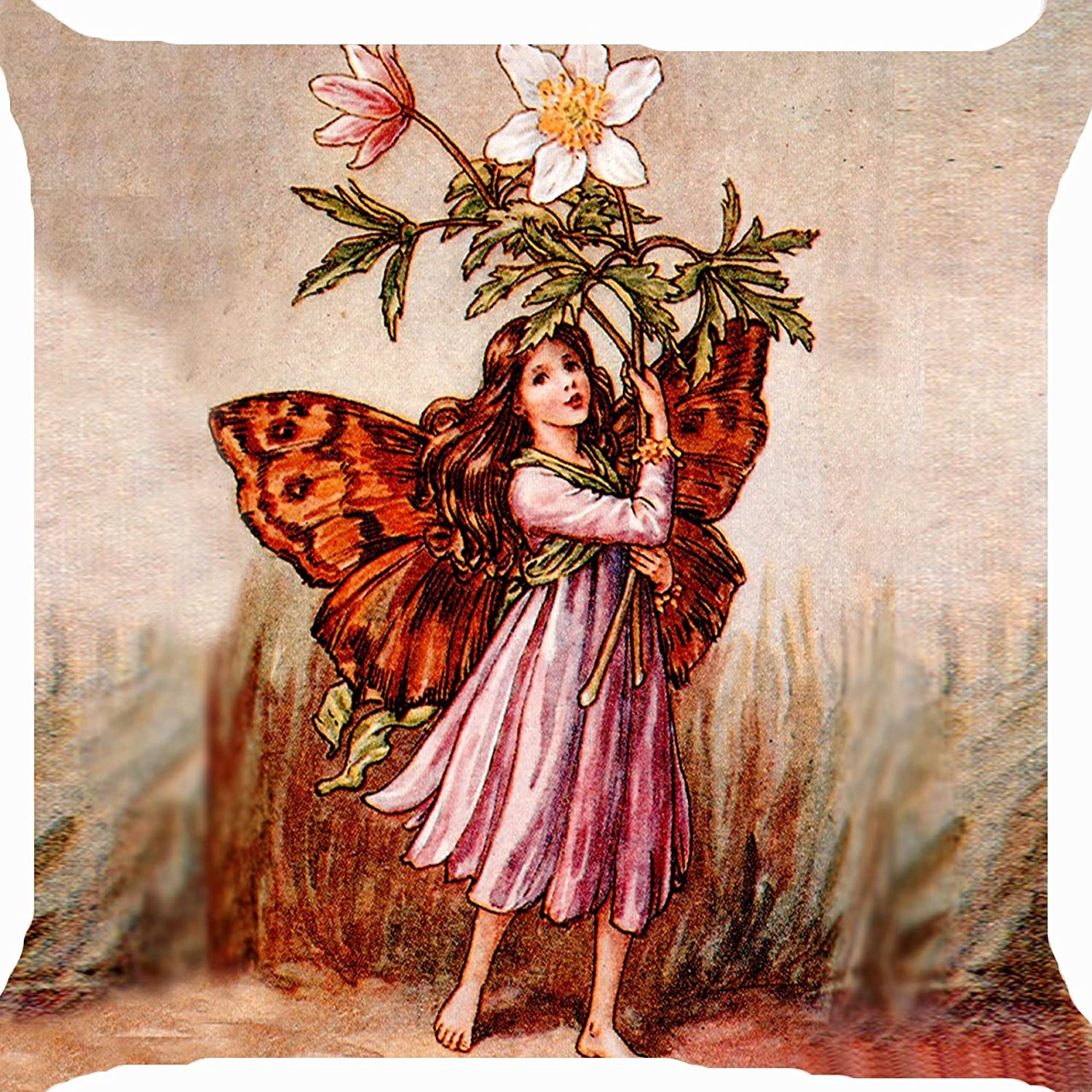 Cushion cover throw pillow case 18 inch retro vintage wind flower fairy angel garden playing both sides image zipper