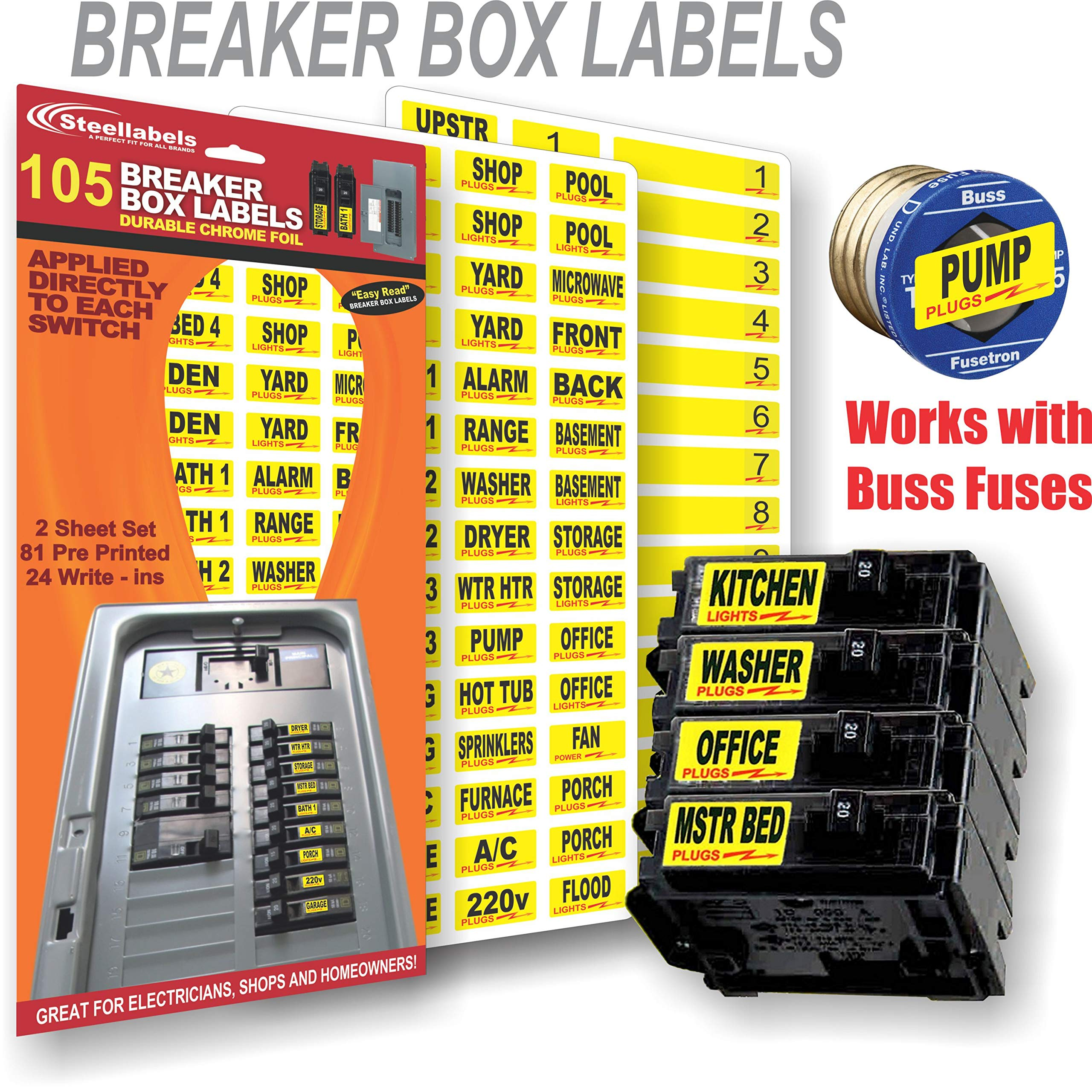 Circuit Breaker ID Tags plus Bonus Chrome Socket Labels for tool organizing, great for Home Owners, Apartments & Electricians, Decals fit all Breaker Panels & Switches, applies directly to the breaker by Steellabels (Image #3)