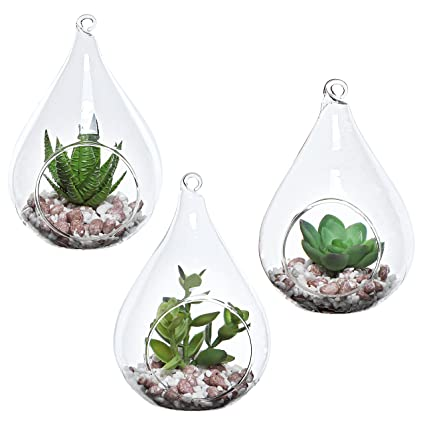 Amazon Com Mygift Set Of 3 Teardrop Design Hanging Glass Faux