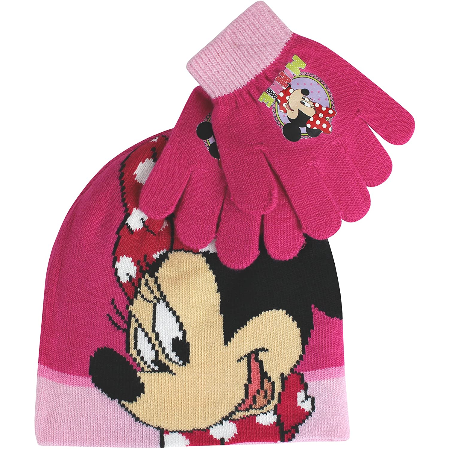 Girl's Disney Minnie Mouse Pink Thermal Winter Hat & Gloves Set