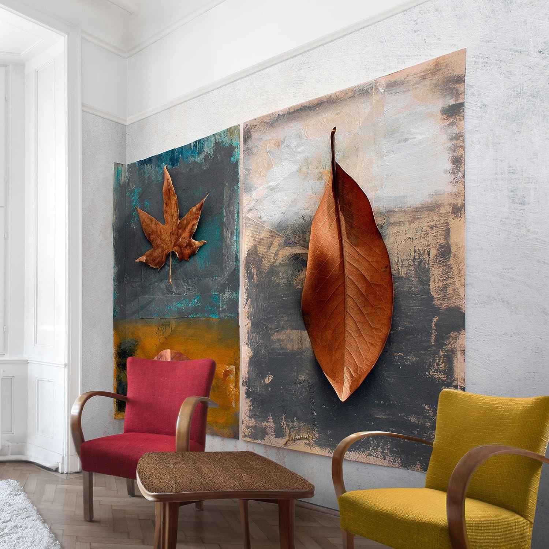 Apalis Vliestapete Blumentapete Leaves Stilllife Fototapete Breit   Vlies Tapete Wandtapete Wandbild Foto 3D Fototapete für Schlafzimmer Wohnzimmer Küche   mehrfarbig, 94958
