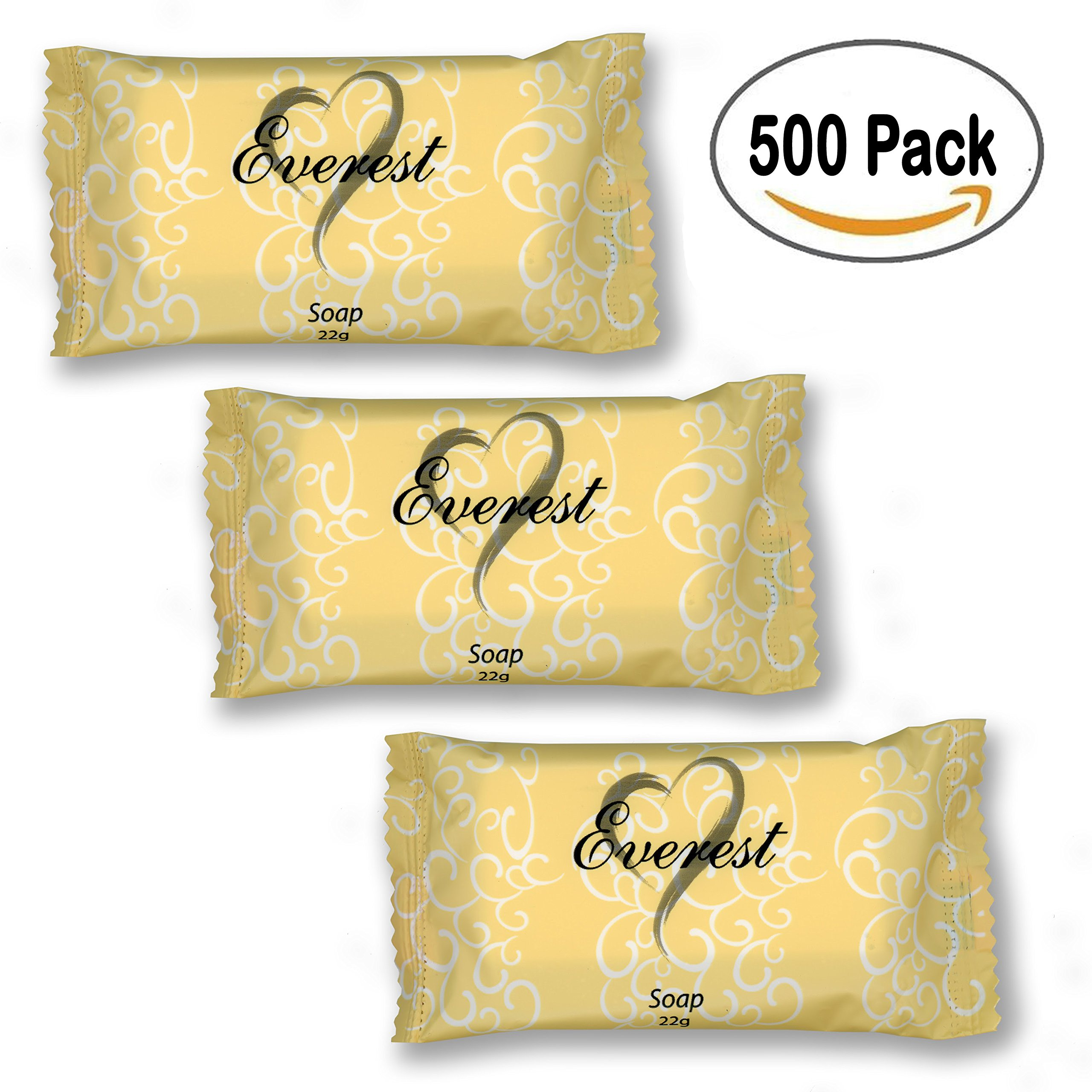 Everest Soap 500 pack, 22 grams(.78oz)Individually Wrapped Travel Soap Bar Amenities for Hotels & Motels, Resorts, AirBnB Guests Toiletries Bulk Discount Price Made of Coconut Oil (cocos nucifera oil)