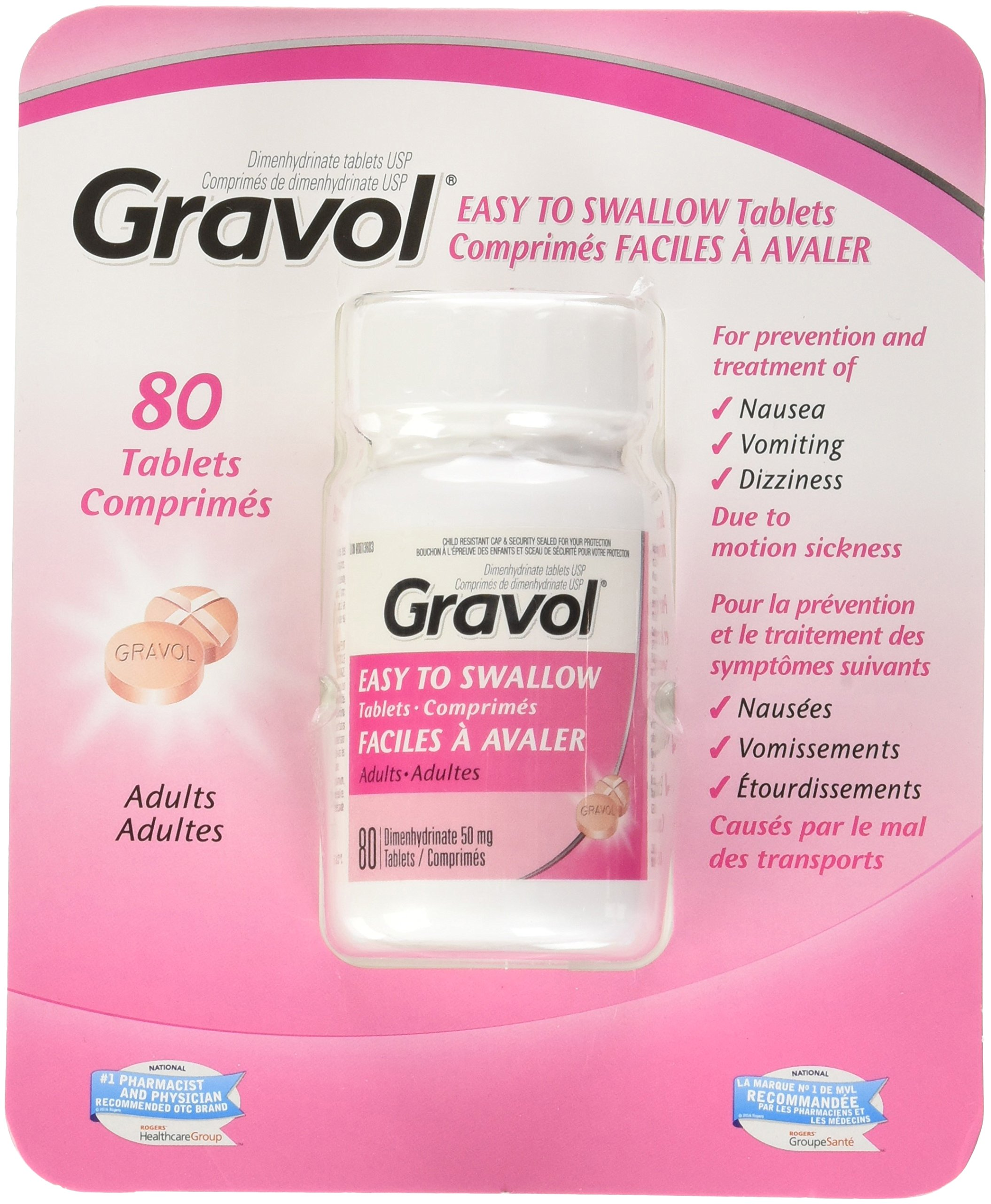 Gravol Easy To Swallow 80 Tablets Filmkote Antinauseant For Nausea, Vomiting, Dizziness and Motion Sickness 50 Milligram